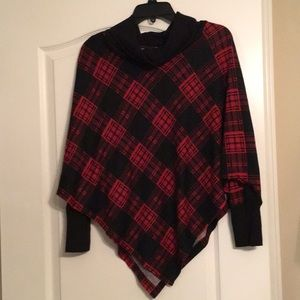 new directions Sweaters - Plaid Sleeved Cape